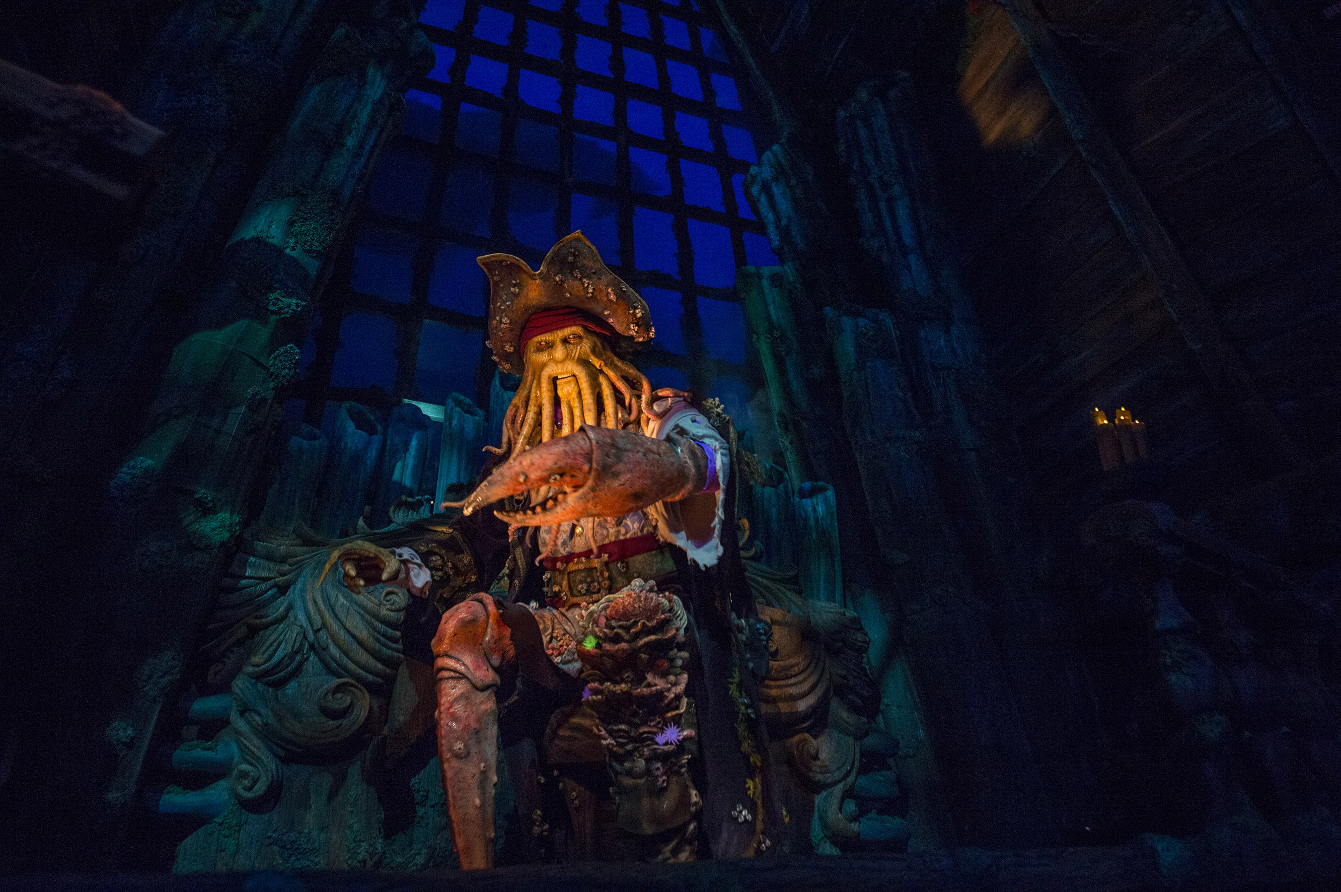 "Pirates of the Caribbean: Battle for the Sunken Treasure is a spectacular boat ride that takes guests on an adventure with Captain Jack Sparrow and cohorts like Davy Jones at Shanghai Disneyland. As they journey along the Battle for the Sunken Treasure, their boats will spin and move in synchronization as they travel through breathtaking scenes and lively battles. A hallmark at Disney theme parks, ""Pirates of the Caribbean"" has thrilled guests with its scallywags and adventures around the world. (Ryan Wendler, photographer)"