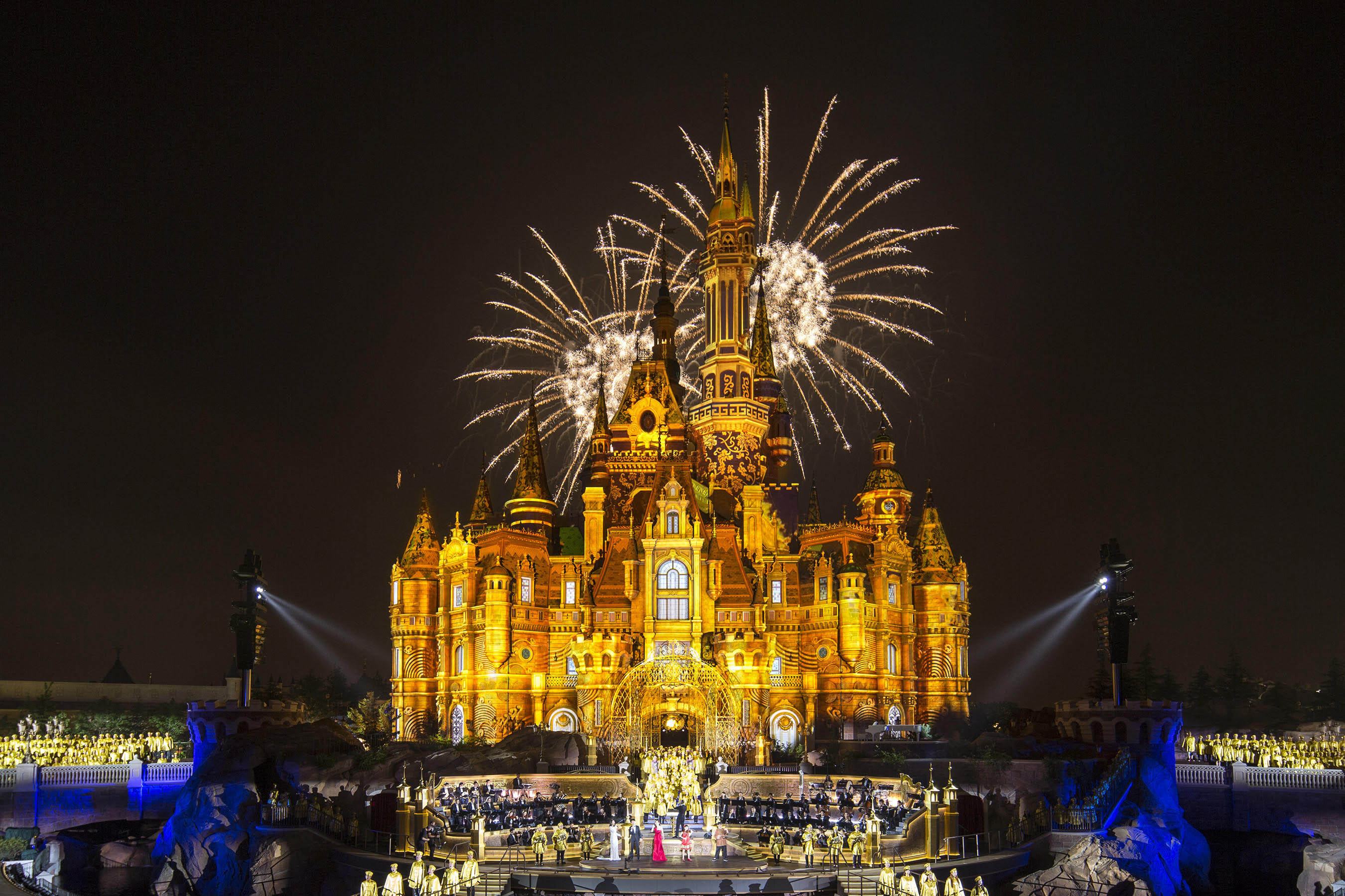 "SHANGHAI (June 15, 2016)  On the eve of the Grand Opening of Shanghai Disney Resort, Disney celebrated the historic occasion with a star-studded, two-hour broadcast that captured the extraordinary spirit of the first Disney resort in Mainland China. The broadcast included a Grand Opening gala concert with world-renowned composer Tan Dun conducting the Shanghai Symphony Orchestra in an inspiring performance of his original composition, ""Igniting the Magical Dream.""  The one and only Mickey Mouse joined the enchanting gala and Disney stories came to life with dazzling projections and lighting on the Enchanted Storybook Castle."