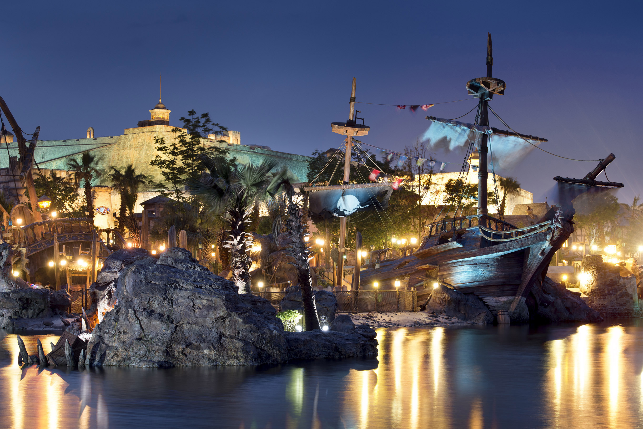 Guests can venture into Treasure Cove, the first pirate-themed land at a Disney Park, located at Shanghai Disneyland. Through rich storytelling and detailing, Treasure Cove brings to life the Age of Piracy, blending cultures with pirate fun and mayhem. Guests of all ages can enjoy epic scenes throughout the land that showcase up-close action and acrobatics. (Kent Phillips, photographer)